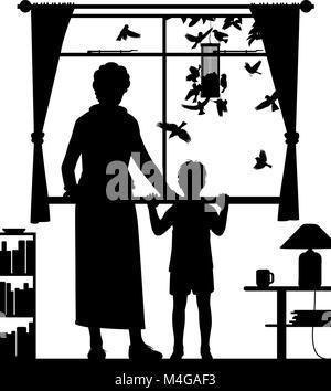 Silhouette vecteur modifiables illustration d'une femme et enfant regarder les oiseaux à un convoyeur suspendu par Banque D'Images
