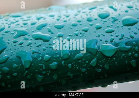 Détail des gouttes de pluie sur le vert, Close up, de la pluie est tombée et a laissé derrière lui une belle formation Banque D'Images