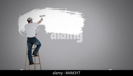 Peinture murale sur l'homme blanc Banque D'Images