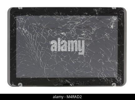 Un ordinateur tablette écran cassé. Il a été touché par un homme. Isolé avec patch studio shot. La production de masse.