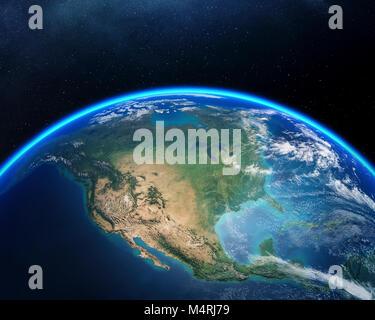 Terre vue de l'espace avec l'accent sur l'Amérique du Nord. Rendu 3D détaillées contre the Starry night sky (éléments Banque D'Images
