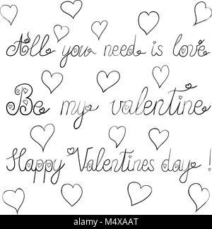 Encre vecteur valentine day - lettrage tout ce qu'il vous faut, c'est l'amour, être mon Valentin, happy Valentines Day