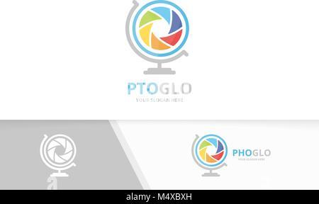 Vector et l'obturateur de l'appareil photo logo globe combinaison. Planète de l'objectif d'un symbole ou d'icône. Banque D'Images