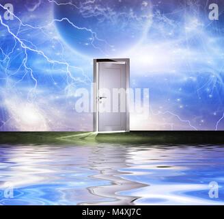 Le surréalisme. Portail blanc symbolise la porte d'une autre dimension. Certains éléments de droit crédit NASA. Banque D'Images