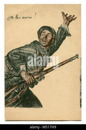 Ancienne carte postale de propagande française: un brave homme avec une carabine appelant pour lui à l'avant. Affiche Banque D'Images