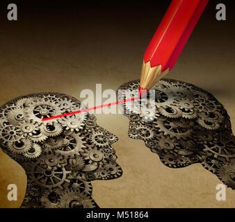La télépathie et le cerveau la psychologie d'interprétation de l'esprit ou mental concept connexion télépathique Banque D'Images