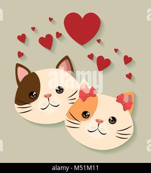 Cute cats couple animaux domestiques bienvenus Banque D'Images