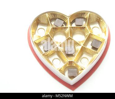 Boîte de chocolats en forme de cœur et Banque D'Images
