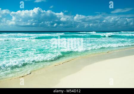 Caribbean Beach panorama, Tulum, Mexique Banque D'Images