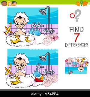 Jeu des différences avec garçon jouant à Bath Banque D'Images