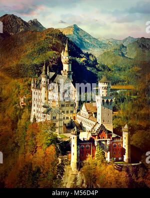 DE - La Bavière: Château de Neuschwanstein Banque D'Images