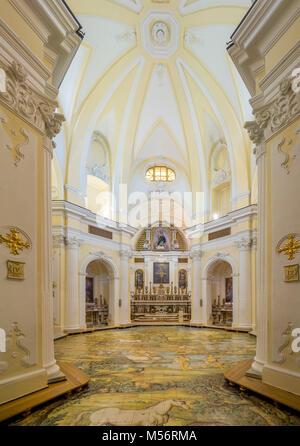 Intérieur de l'église Saint Michel à Anacapri, le sol de mosaïque par Leonardo Chiaiese., fait de maioliques de Banque D'Images