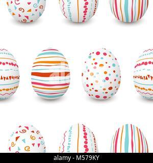 Ensemble d'oeufs de Pâques blanc motif transparent. simple rose, orange, rouge, bleu à rayures, motifs points, confetti, Banque D'Images