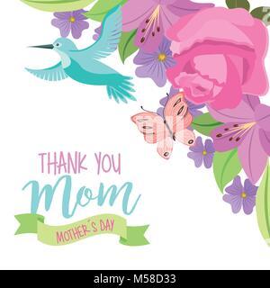 Merci maman la fête des mères, d'oiseaux et de papillons voler ornement fleurs Banque D'Images