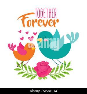 Ensemble pour toujours l'amour des oiseaux des fleurs coeurs Banque D'Images