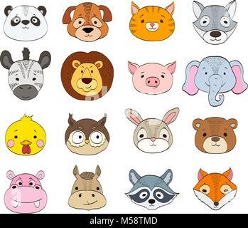 Ensemble de cartoon animal visages sur blanc. bébés animaux symboles drawi Banque D'Images