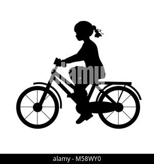 Silhouette girl riding bike sport. Vector illustration Banque D'Images