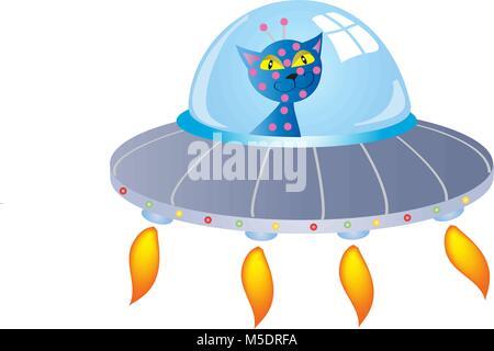 Cartoon chat bleu dans une soucoupe volante Banque D'Images