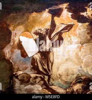 Moïse et les tables de la Loi par Benjamin West (1738-1820), huile sur papier, c.1780. C'est un croquis préparatoire pour une peinture plus montrant Moïse recevant les dix commandements de Dieu.