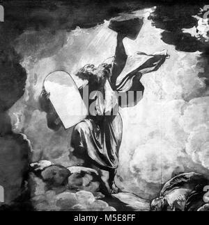 Moïse et les tables de la Loi par Benjamin West (1738-1820), huile sur papier, c.1780. C'est un croquis préparatoire pour une peinture plus montrant Moïse recevant les dix commandements de Dieu. Détail d'un grand centre de la peinture.