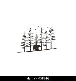 Vintage concept de forêt à la main avec l'ours. Design monochrome noir pour l'impression, t shirts, tasses de voyage, Banque D'Images
