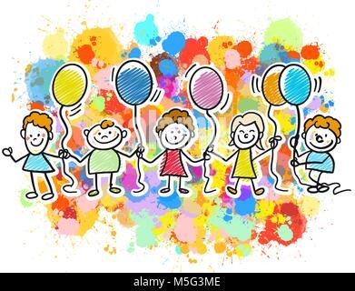 Enfants heureux ensemble avec des ballons. Gribouillages croquis dessiné à la main dans de belles tenues et costumes. Banque D'Images