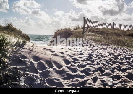 France, Normandie, Portbail Cotentin, plage, dune et la mer Banque D'Images