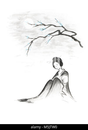 Belle geisha réfléchis sakura assis sous la direction générale de l'illustration artistique de lune style oriental Banque D'Images