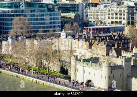 Vue aérienne de la Tour de Londres, Londres, Royaume-Uni. Banque D'Images