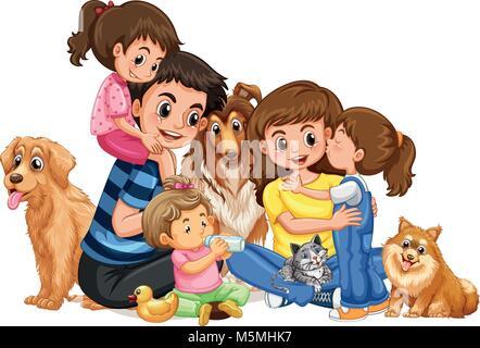Heureux en famille avec quatre enfants et animaux domestiques illustration Banque D'Images