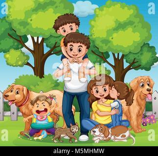 Famille avec enfants et animaux dans le parc illustration Banque D'Images