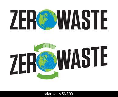 Zéro déchets insigne ou emblème Vector Design. Ensemble de deux éléments de conception graphique Zéro déchet avec des flèches recyclage symbole et l'icône de la planète terre.