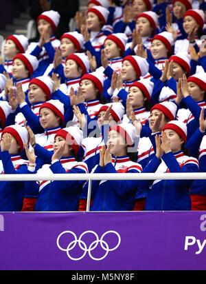 Gangneung, Corée du Sud. Feb 14, 2018. La Corée du Nord Cheer Squad pendant le 2018 Jeux Olympiques d'hiver de Pyeongchang. Banque D'Images
