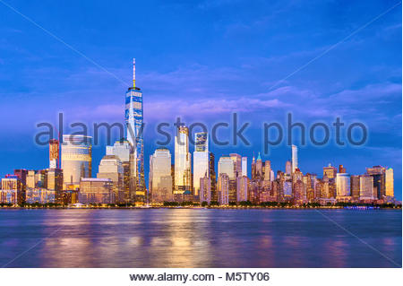 Toits de New York One World Trade Center WTC Freedom Tower Banque D'Images