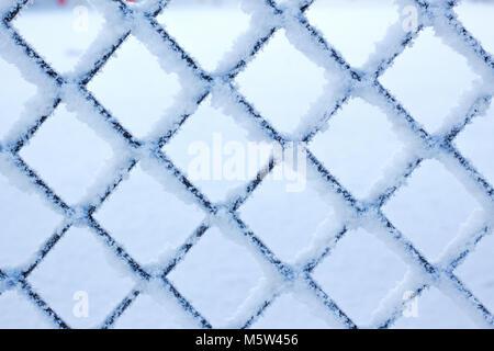 Dans le treillis d'hiver texture gel Banque D'Images