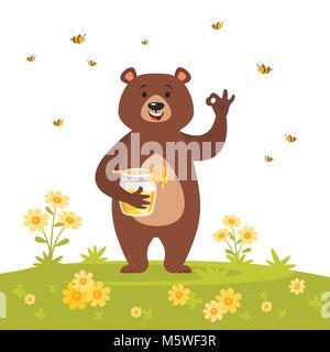 Vector cartoon style caractère ours de manger du miel doux montrant un bon signe de main. Ok geste. Nature fond Banque D'Images