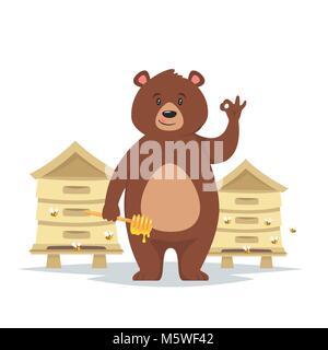 Vector cartoon style caractère ours montrant un bon signe de main au miel manger près de la ruche avec des abeilles Banque D'Images
