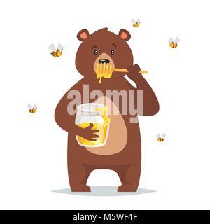 Vector cartoon style caractère ours miel doux de l'alimentation. Les abeilles voler autour. Isolé sur fond blanc. Banque D'Images