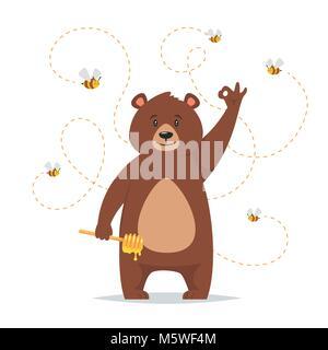 Vector cartoon style caractère ours de manger du miel doux montrant un bon signe de main. Les abeilles voler autour. Banque D'Images