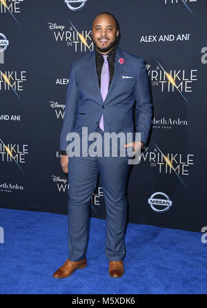 Hollywood, CA, USA. Feb 26, 2018. 26 février 2018 - Hollywood, Californie - Justin simien. Le Disney's ''une ride Banque D'Images