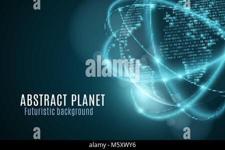 Carte du monde de code binaire. Planète futuriste. Neon lignes floues, rougeoyant. Résumé fond. Le code de programmation. Banque D'Images