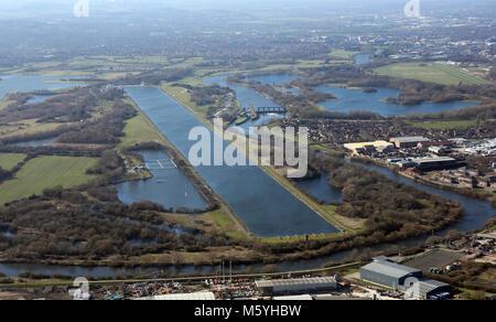 Vue aérienne de Holme Pierrepont Centre Nautique National, Nottingham, Royaume-Uni Banque D'Images