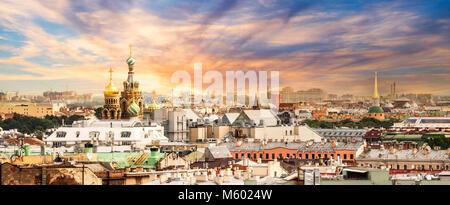Vue aérienne de St Petersbourg, Russie Banque D'Images