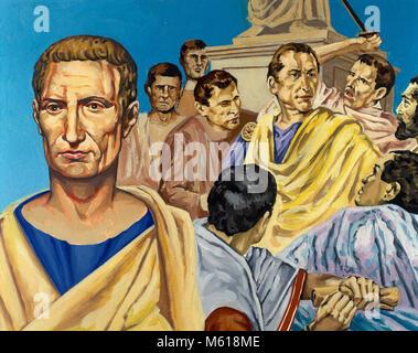Jules César (100-44 av. J.-C.). Homme politique et général romain. Le meurtre de César, victime d'un complot républicain. Banque D'Images