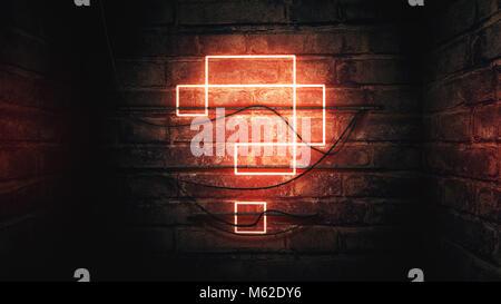 Point d'interrogation en néon sur mur de brique, illustration conceptuelle pour test, examen et à réponses situation Banque D'Images