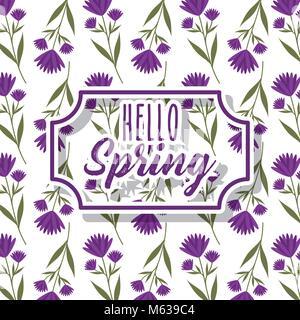 Étiquette vintage bonjour printemps carte de souhaits Décoration florale fond blanc Banque D'Images
