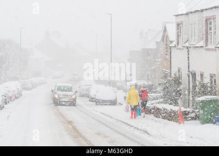 Balfron, Stirlingshire, Scotland, UK. 28 Février, 2018. UK - beaucoup de neige dans le village de Stirlingshire Banque D'Images