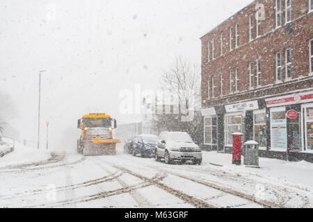 Balfron, Stirlingshire, Scotland, UK. 28 Février, 2018. Royaume-uni - un chasse-neige dans le Stirlingshire village Banque D'Images