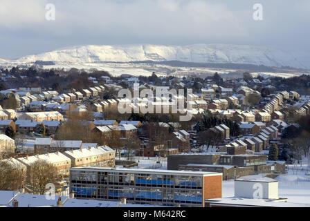 Glasgow, Ecosse. 28 février 2018.UK Weather: la bête de l'Est couvre le temps campsies et le nord de la ville avec Banque D'Images