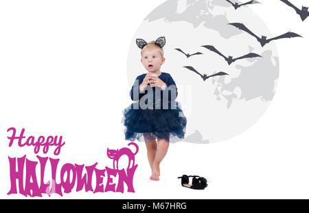Costume Halloween. Petite fille en costume cat pour l'Halloween Banque D'Images